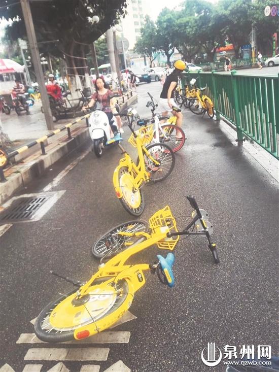 共享单车乱停放成顽疾 好心大姐冒雨挪占道单车