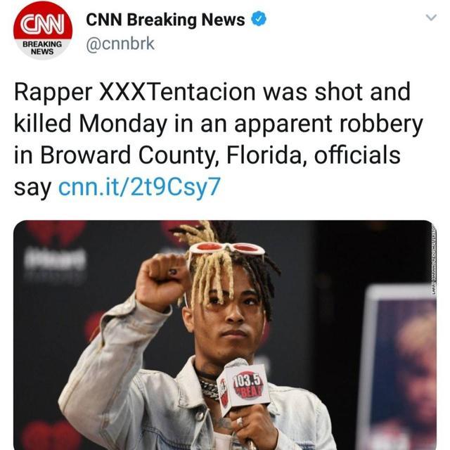 XXXTentacion在佛罗里达遭遇抢劫后被枪击不幸逝世