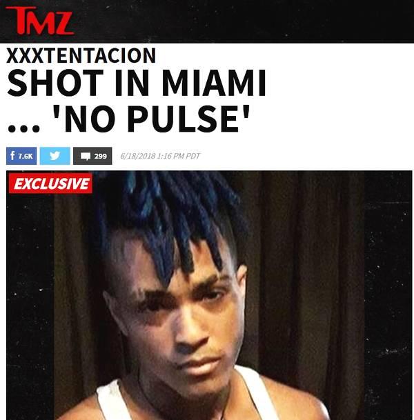 美说唱歌手XXXTentacion迈阿密中枪 送医后救治无效被宣布死亡