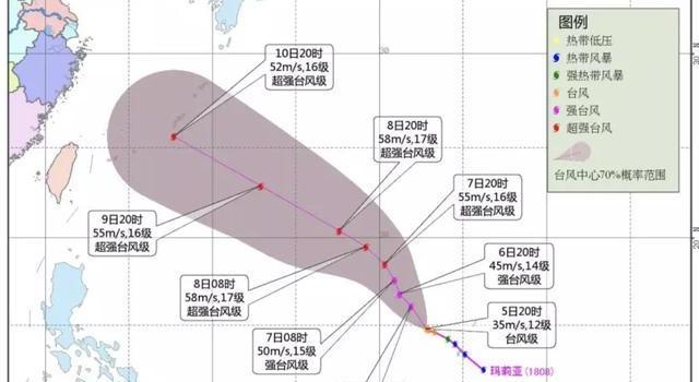 第8号台风玛莉亚路径图 已加强为台风级 有登陆华东的可能