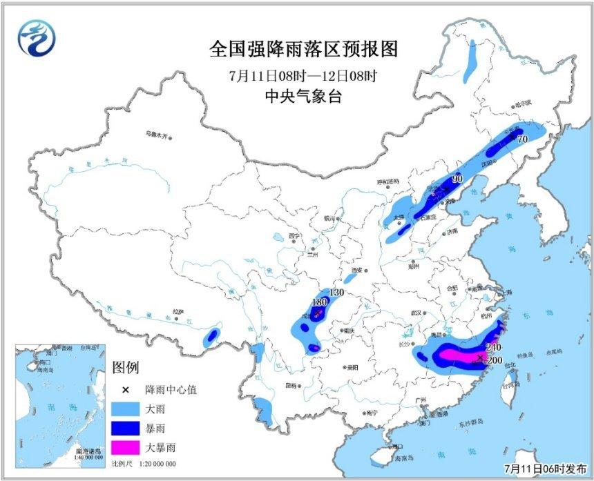 暴雨橙色预警:福建浙江江西四川部分地区将有大暴雨