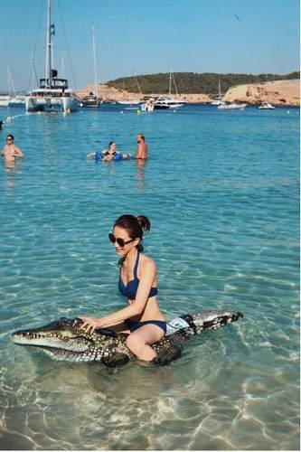 许婧晒旅游照片 穿着比基尼骑鳄鱼胆子超大!