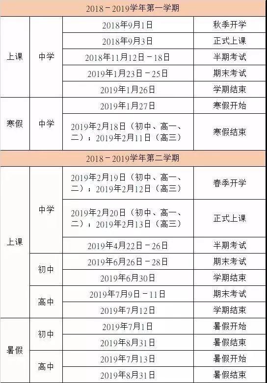 最新!2018-2019学年福州中小学校历出炉
