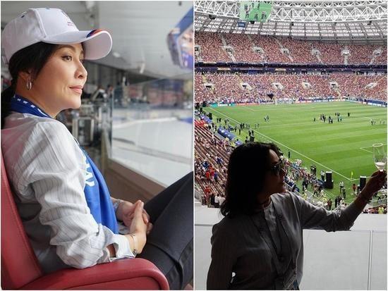 世界杯赛场上的明星们 刘嘉玲看台喝香槟贵妇十足