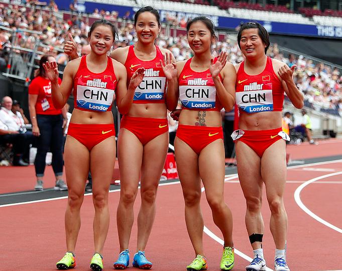 国际田联钻石联赛中国女子接力摘银 女子接力队员名单照片
