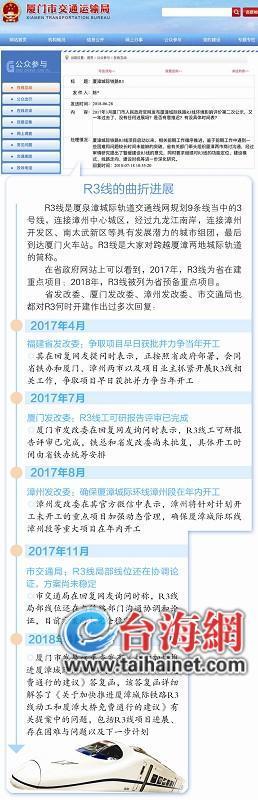 厦漳城轨R3线要凉? 厦门交通运输局:暂缓建设
