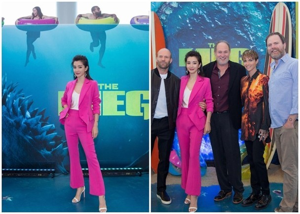李冰冰赴好莱坞宣传新片《巨齿鲨》 自曝拍水底戏搞到窒息