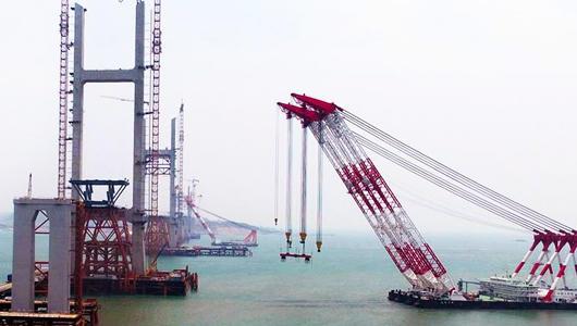 平潭海峡公铁大桥进入主航道桥钢梁架设施工阶段