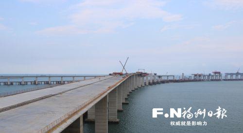 福州长平高速松下跨海特大桥桩基完工 明年下半年通车
