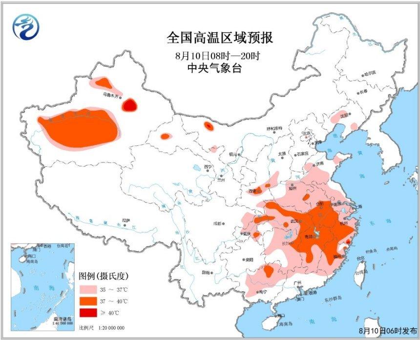 高温黄色预警:江南湖北重庆广西等地区37~39℃