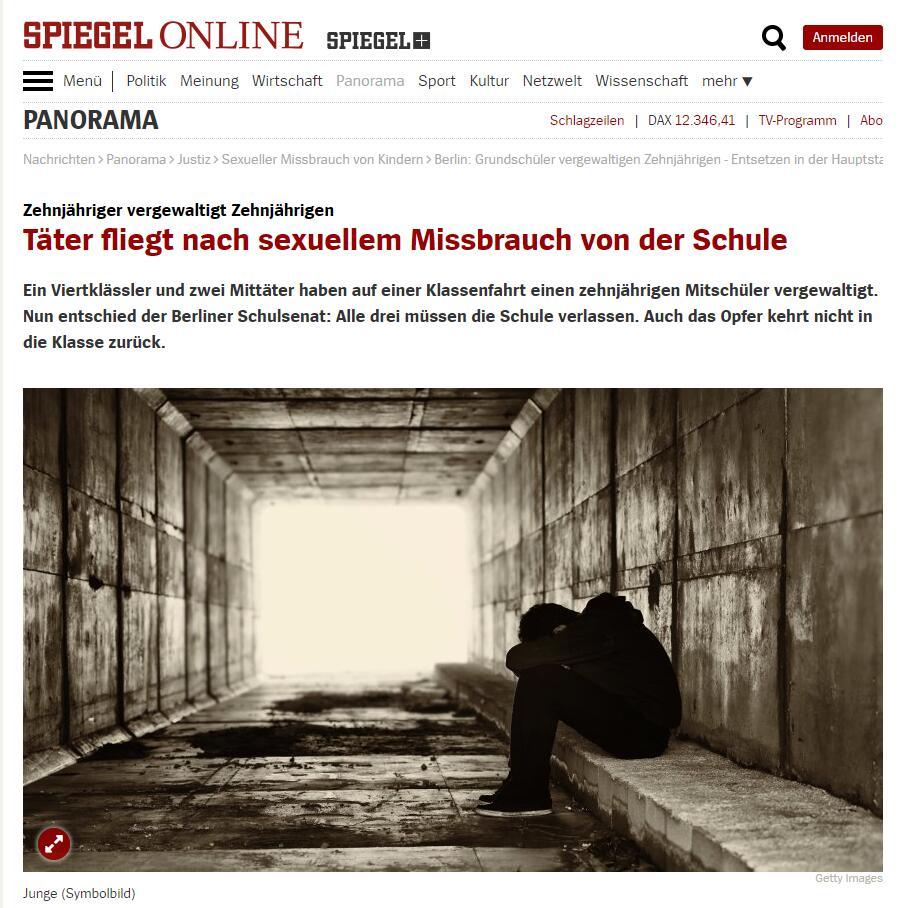 德国柏林三名小学男生性虐同学事件始末 肇事学生将送去治疗机构