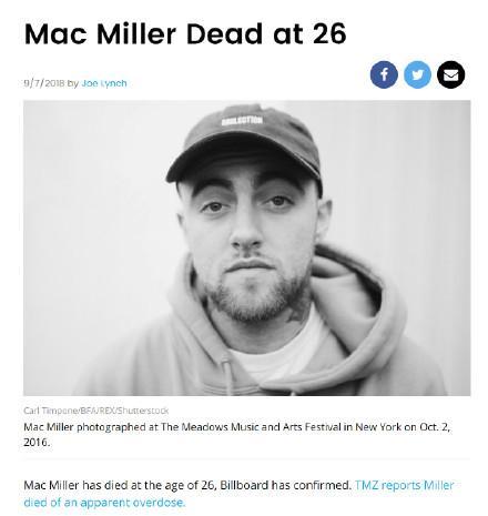 26岁mac miller去世是怎么回事?mac miller是谁为什么去世?