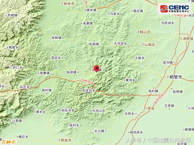 河南安阳市林州市附近发生3.1级左右地震