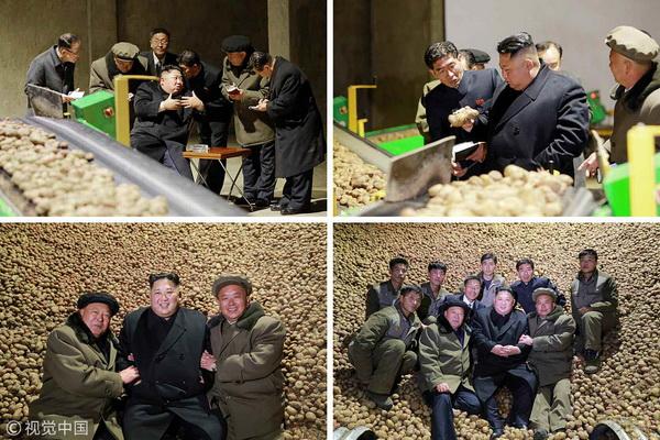 朝鮮最新消息 金正恩冒雪視察三池淵郡 坐在土豆堆上合影留念