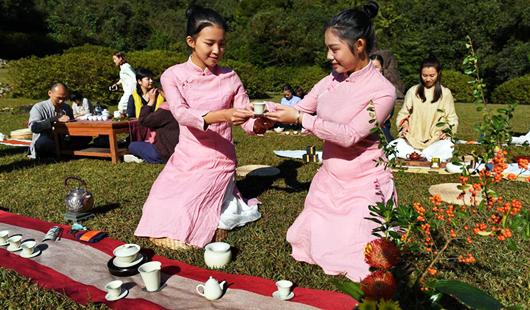 福建武夷山:戶外茶席成時尚