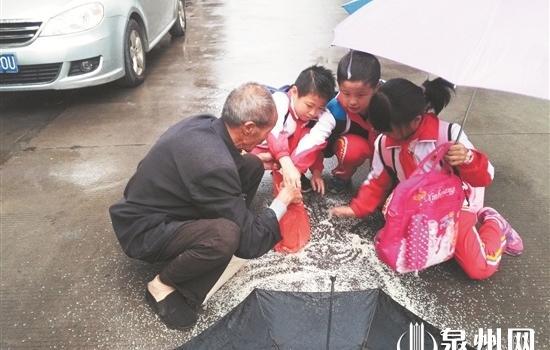 寒雨中的暖心一幕 德化小學生放學途中幫老人撿米