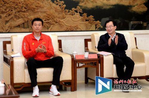 王宁访问省运会威彩平台活动员锻练员代表