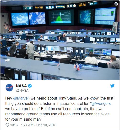 NASA:希望漫威調動一切資源去拯救鋼鐵俠