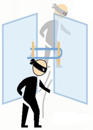 店家用U形锁锁门 小偷穿过门缝作案