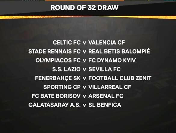 欧联32强抽签对阵表公布 维也纳快速vs国际米兰,马尔默vs切尔西