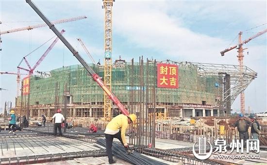 迎新春 抢工期 赶节点 晋江第二体育中心多个场馆封顶