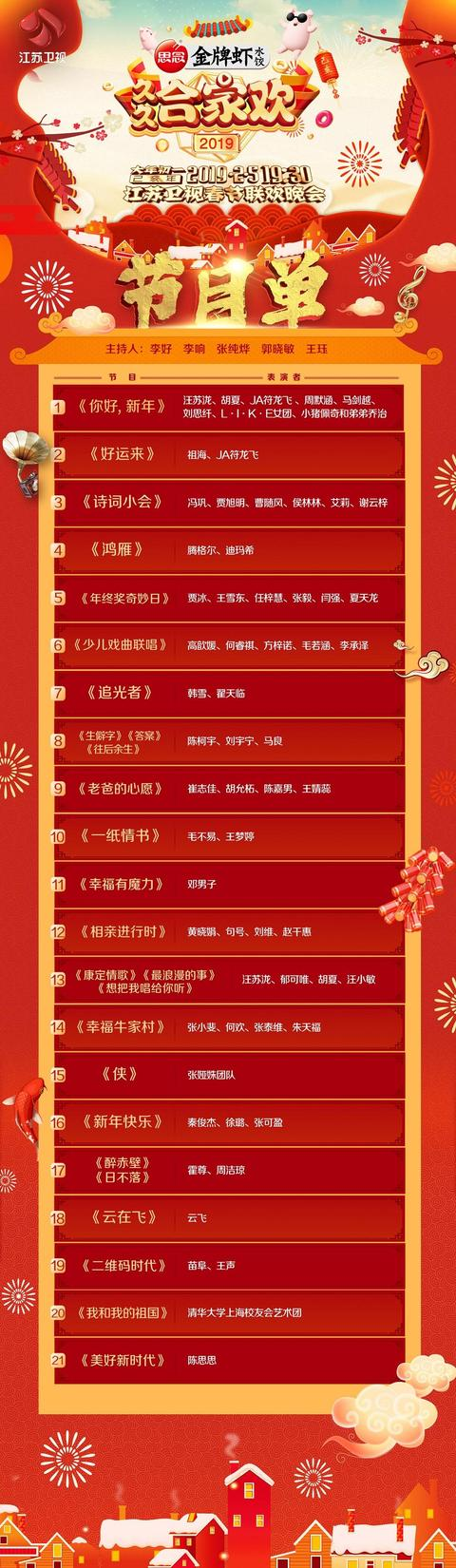 江苏卫视节目表_江苏卫视春晚节目单新鲜出炉 江苏卫视春晚有哪些看点