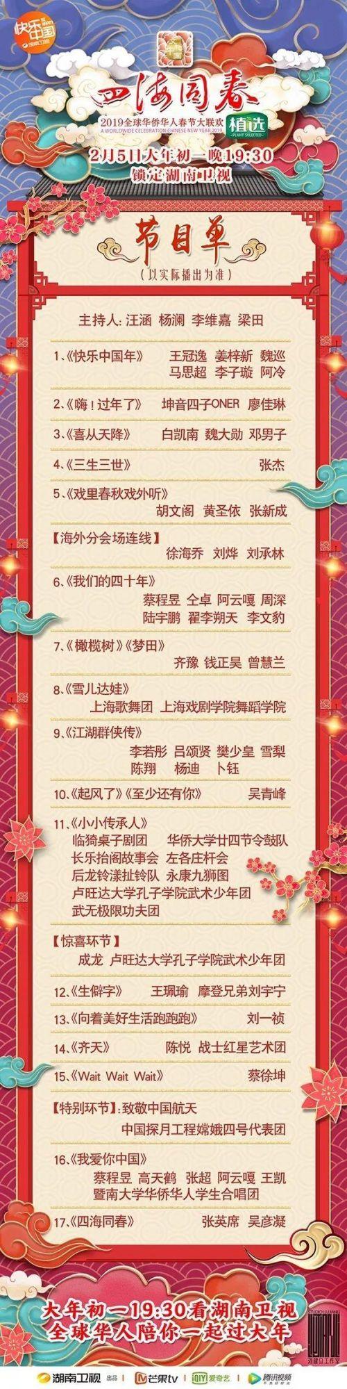 2019湖南卫视华人春晚节目单 湖南卫视初一晚会嘉宾名单与直播时间