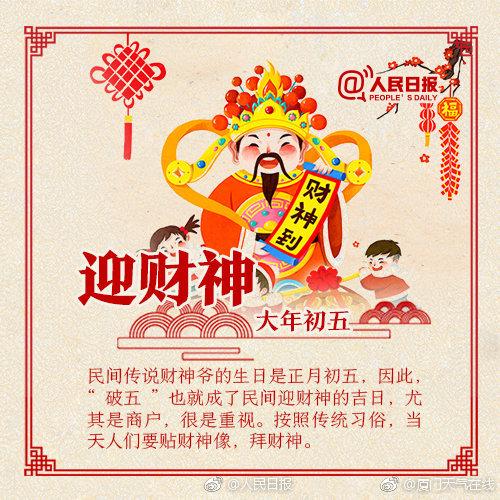 初五迎财神寓意图片汇总 大年初五财神日祝福短信QQ微信