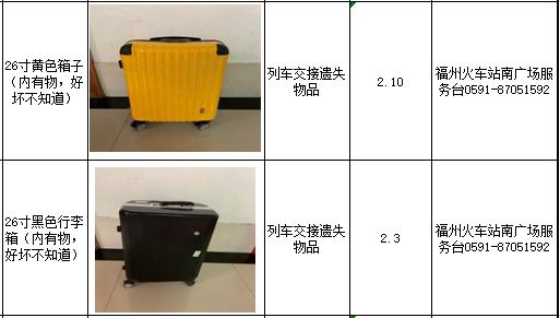 【招领】福州火车站2月(7日—10日)招领信息汇总