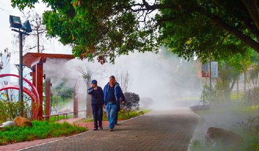 意彩娱乐闽江公园:雾气旋绕打造梦境瑶池