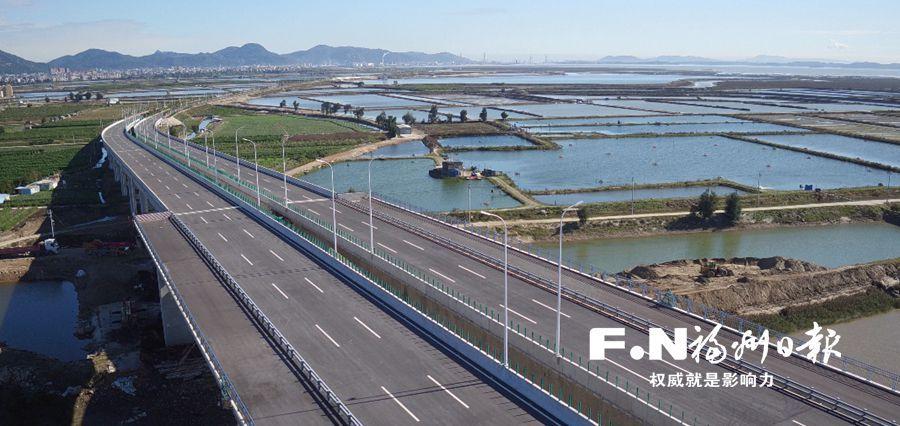 """福州滨海大通道福清段建设驶入""""快车道"""" 部分路段已通车"""