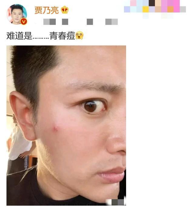 贾乃亮晒自拍侧脸 被吹风机叫醒表情无奈!网友:终于露脸了!