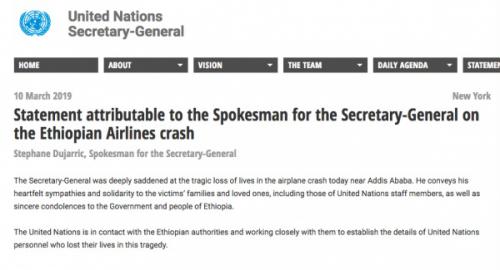 联合国工作者遇难 埃航空难中包括至少19名联合国工作人员
