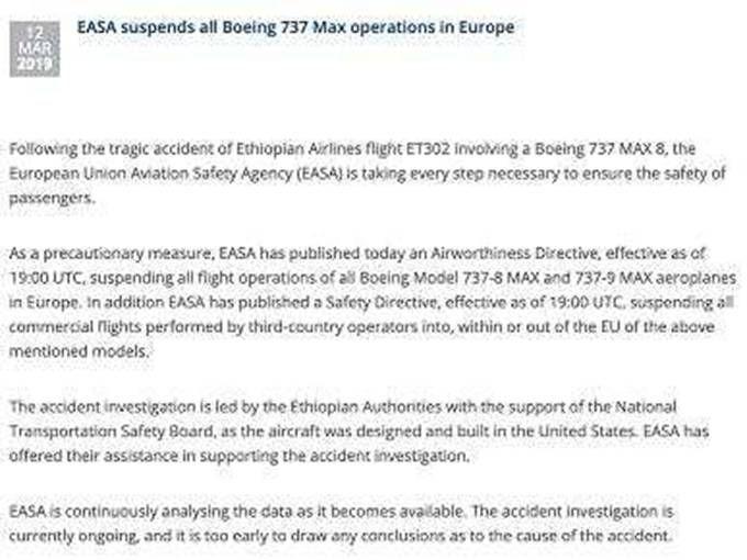 多国停飞波音737 美国监管机构继续认定该机型适飞