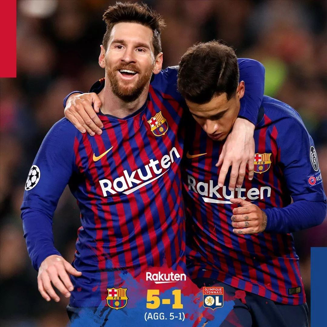 巴萨5-1晋级八强 梅西独造4球 角逐精美回首