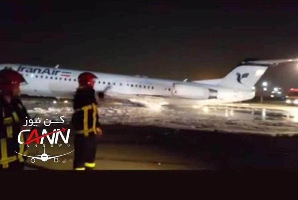 德黑蘭機場一架載有100名乘客的飛機起火