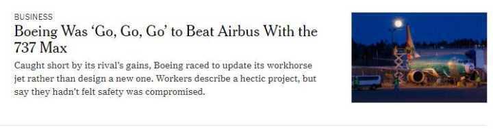 波音当年为与空客抢单 3个月让737 Max项目诞生