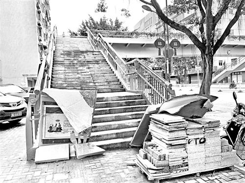 福州杨桥路茶园山小学旁 天桥已建成迟迟未投用