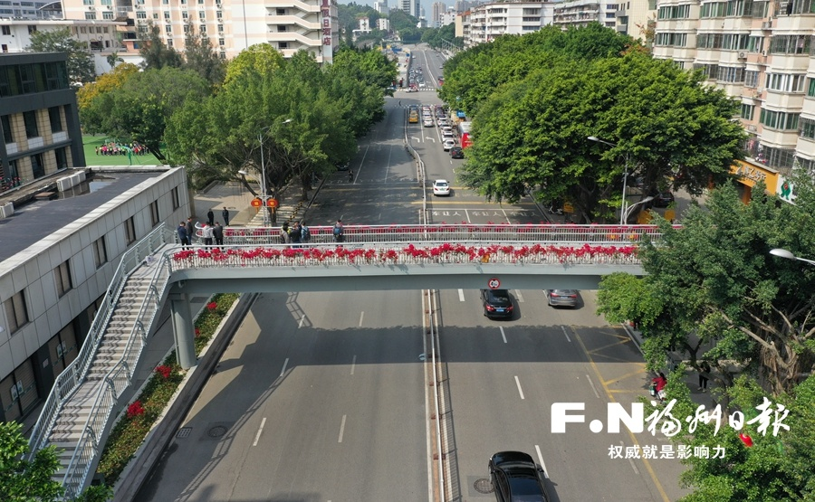 福州茶园山人行天桥建成 杨桥路减少一个堵点