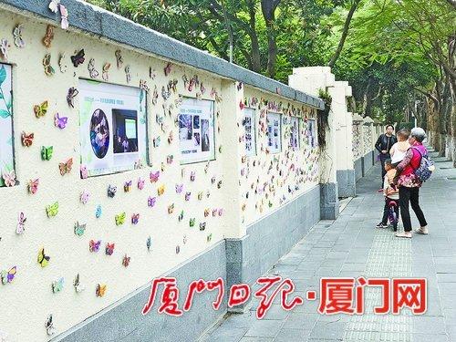 厦门蝴蝶墙成了网红墙 由5000多名学生手工涂绘而成