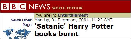 """BBC:""""撒旦的""""《哈利·波特》被焚烧"""