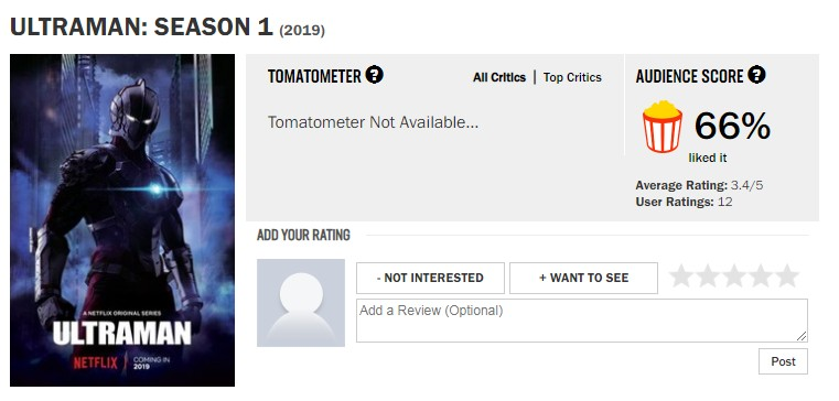 Netflix《机动奥特曼》第一季 IGN 7.8分烂番茄66%