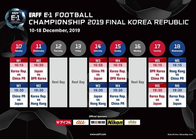 2019东亚杯赛程出炉,国足首战日本9年前曾0失球夺冠