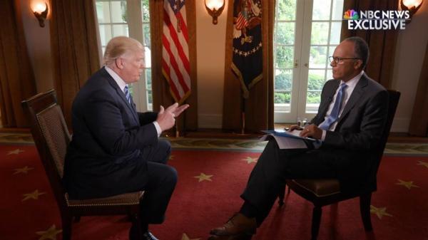 特朗普接受NBC采访。解除科米职务之后,舆论反应负面,特朗普急着上电视访谈节目,解释原因。