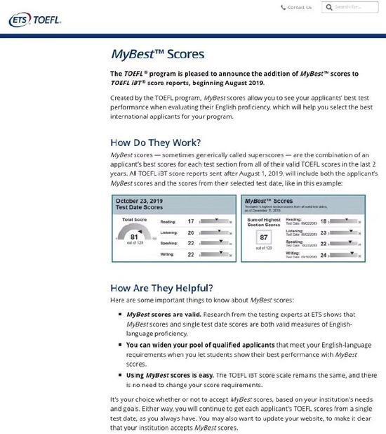 托福考试将实行拼分 最优成绩取代单次成绩