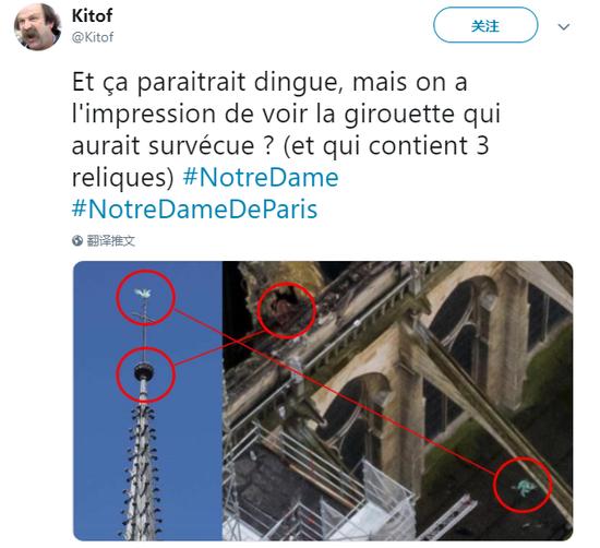 """在此之前,一位眼尖的法国网友从一张高清的俯视图中,搜索到了这只公鸡的踪迹,他发帖称,""""虽然看起来有点疯狂,但是我们好像看到了那只装着三圣物的公鸡,它幸存了下来。""""(图源:推特)"""
