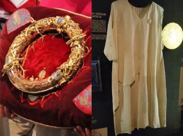 荆棘冠(左)和路易九世的长袍(右)