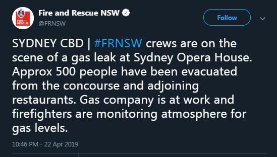 因燃气泄漏,500人从悉尼歌剧院紧急撤离