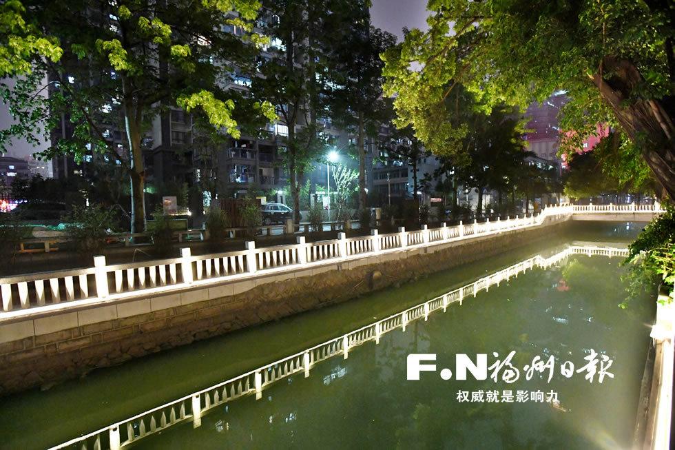 福州五四河示范段23日晚首秀夜景