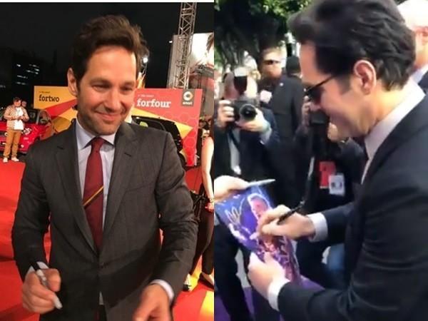 蚁人红毯签名笔拿反了 粉丝收回海报一看…空白的!